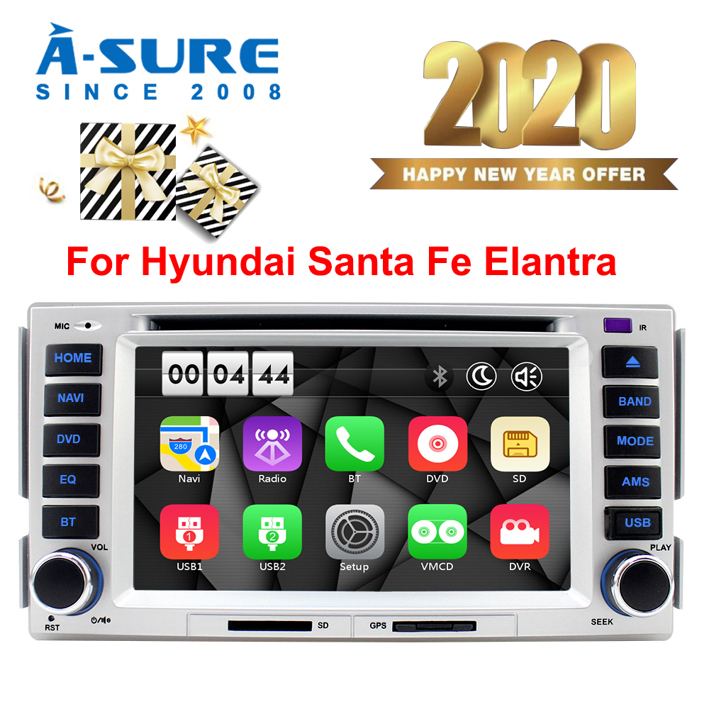 A-Sure Car Multimedia 2 Din Auto Radio <font><b>GPS</b></font> DVD Player Stereo Navigation For <font><b>HYUNDAI</b></font> SANTA FE <font><b>ELANTRA</b></font> WIFI DVR BT WMCD RDS DAB+ image