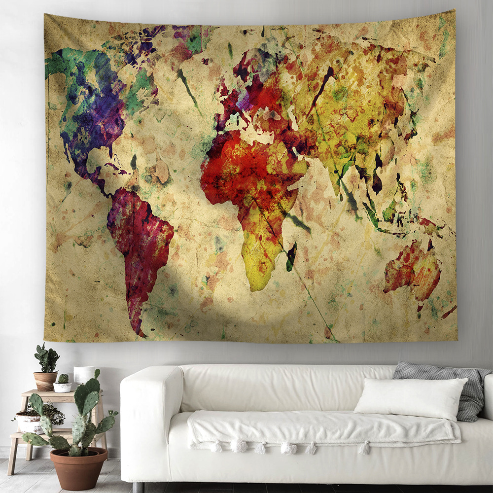 Hot Sale Hanging Cloth Hot Sale Decorative Cloth World Map Printing Tapestry Maps  Atlases