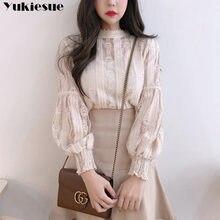Blusas femininas elegante lanterna manga blusa feminina e topos de renda oco para fora blusa casual crochê senhora blusas camisa plus size