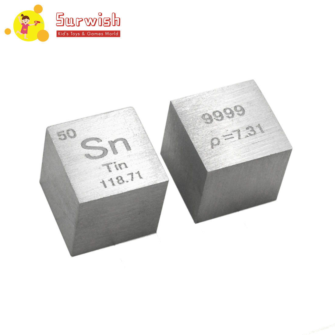 1 Pcs DIY Science Cubes Toy For Children Learning Remote 10 X 10 X 10mm Wiredrawing Stannum Cube Periodic Table Of Elements Cube