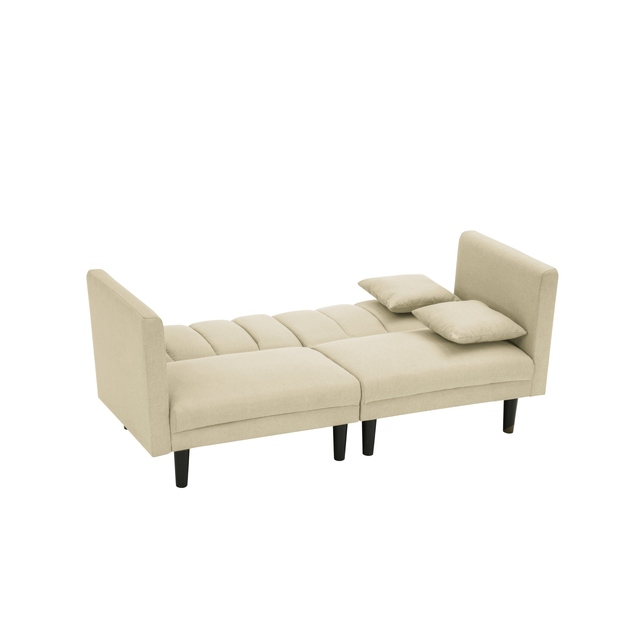 Dual Purpose Futon Sofa Bed Sleeper with 2 Pillows 3-Color Linen Blend Fabric 73.6x32.3x31.5 Inch U.S. Stock 5
