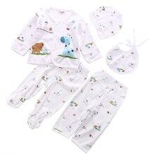 Комплект нижнего белья из 5 предметов для новорожденных 0-3 месяцев, мягкий хлопковый комплект с принтом животных для малышей унисекс, футболка+ штаны для малышей 0-3 месяцев