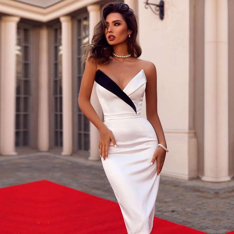 Adyce 2020 New Summer Women Club Bandage Dress Sexy Sleeveless White Black V Neck Elegant Celebrity Evening Party Runway Dresses