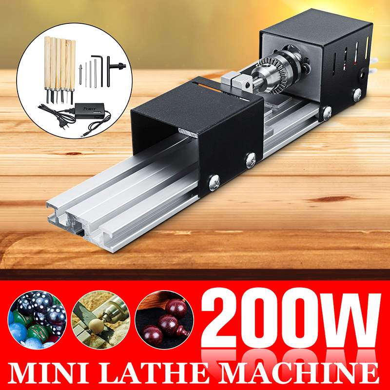 DC12-24V 200W Mini Lathe Beads Machine Woodwork DIY Lathe Standard Set With Power Carving Cutter Wood Lathe+ 6 Carving Blade