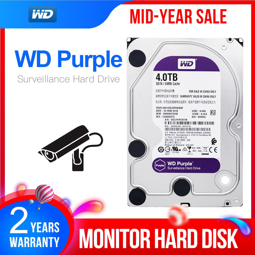 WD Purple 4TB HDD Surveillance Hard Disk Drive - 5400 RPM Class SATA 6 Gb/s 64MB Cache 3.5 Inch - WD40EJRX Camera Ip