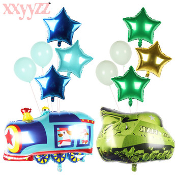 XXYYZZ6pcs cartoon car aluminum foil balloon fire truck ambulance water tank air ball children toy decoration birthday party bal image