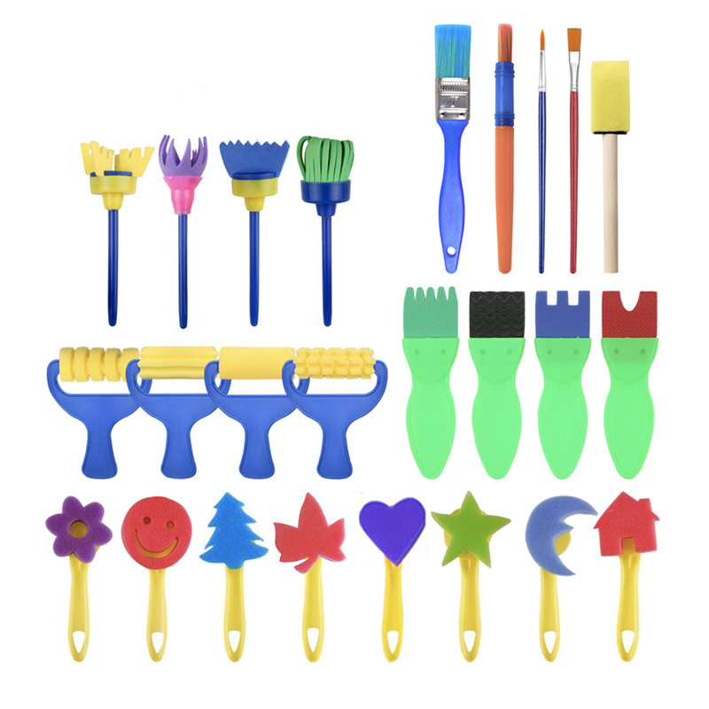 25pcs/set DIY Graffiti Sponge Art Supplies Brushes Seal Painting Tools Funny Drawing Toys Funny Creative Toy For Kid Children
