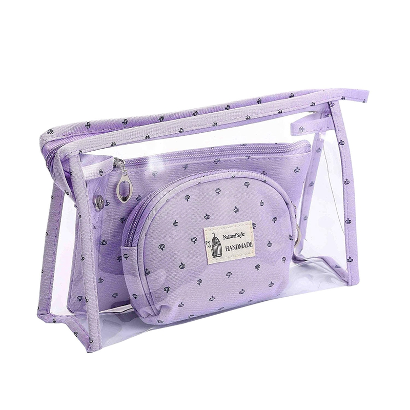 BEAU-Portable <font><b>Cosmetic</b></font> <font><b>Bags</b></font> <font><b>Set</b></font> Of <font><b>3</b></font> Different Sizes Makeup and Toiletry Pouch Purse <font><b>Bag</b></font> for <font><b>Travel</b></font> or Daily Use image