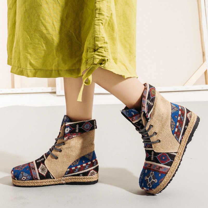 BEYARNEHarajuku Thêu Vải Lanh Nữ Cotton Ngắn Cổ Chân Giày Buộc dây Thoải Mái Nữ Phẳng Espadrilles Boot Thuần Chay ShoesE894