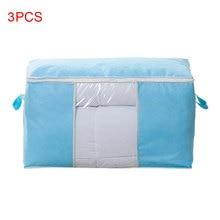 3pcs Bedding Folding Home Storage Bag Wardrobe Sorting Garment Clothes Blanket Quilt Organizer Travel Luggage Non Woven Pillow