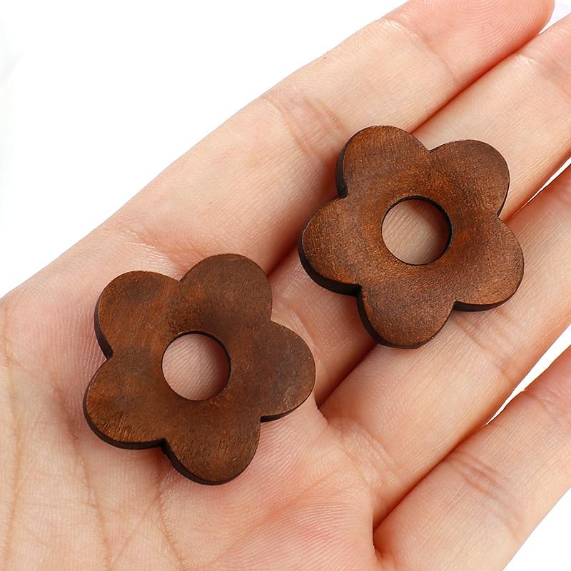 AENSOA Vintage Handmade Wooden Flower Hollow Earrings Brown Floral Geometric Statement Drop Earrings Fashion Jewelry Wholesale