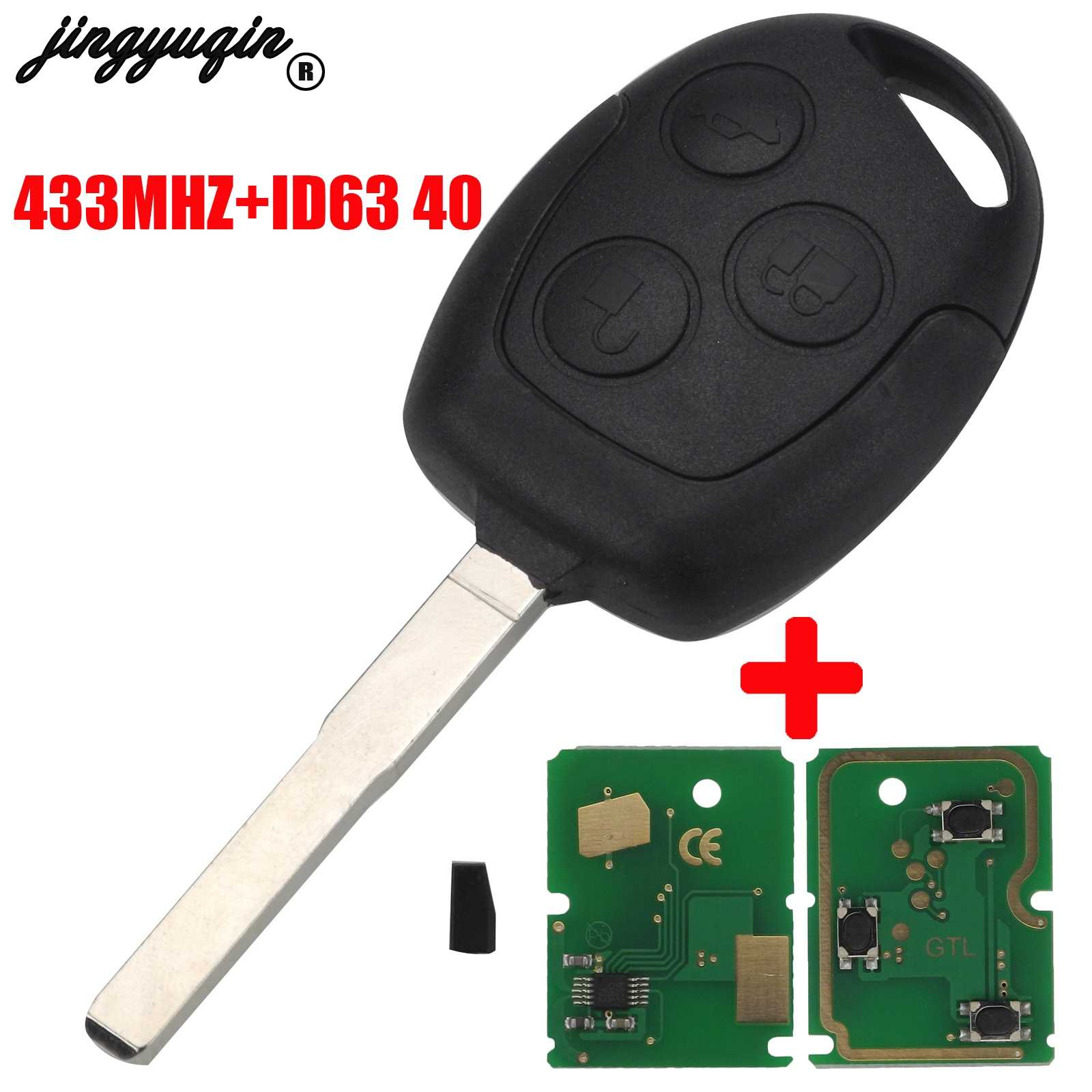 Jingyuqin 3 Knop 4D63 Chip 315/433Mhz Auto Afstandsbediening Sleutel Voor Ford Focus Fiesta Fusion Mondeo Galaxy C -Max S-Max Met HU101 Blade