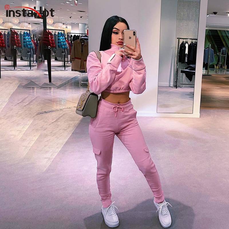 InstaHot Pink Turtleneck Tracksuit Women Zipper Pullover Crop Top And Tapered Drawstring Pants Two Piece Sets Casual Sporting
