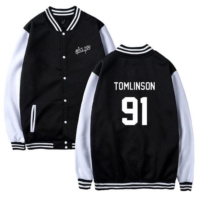 Personality Miss You Louis Tomlinson 91 Print Sweatshirt Baseball Jacket Women Girl Fans Hoodie Tracksuit Kpop Clothes Oversized 1