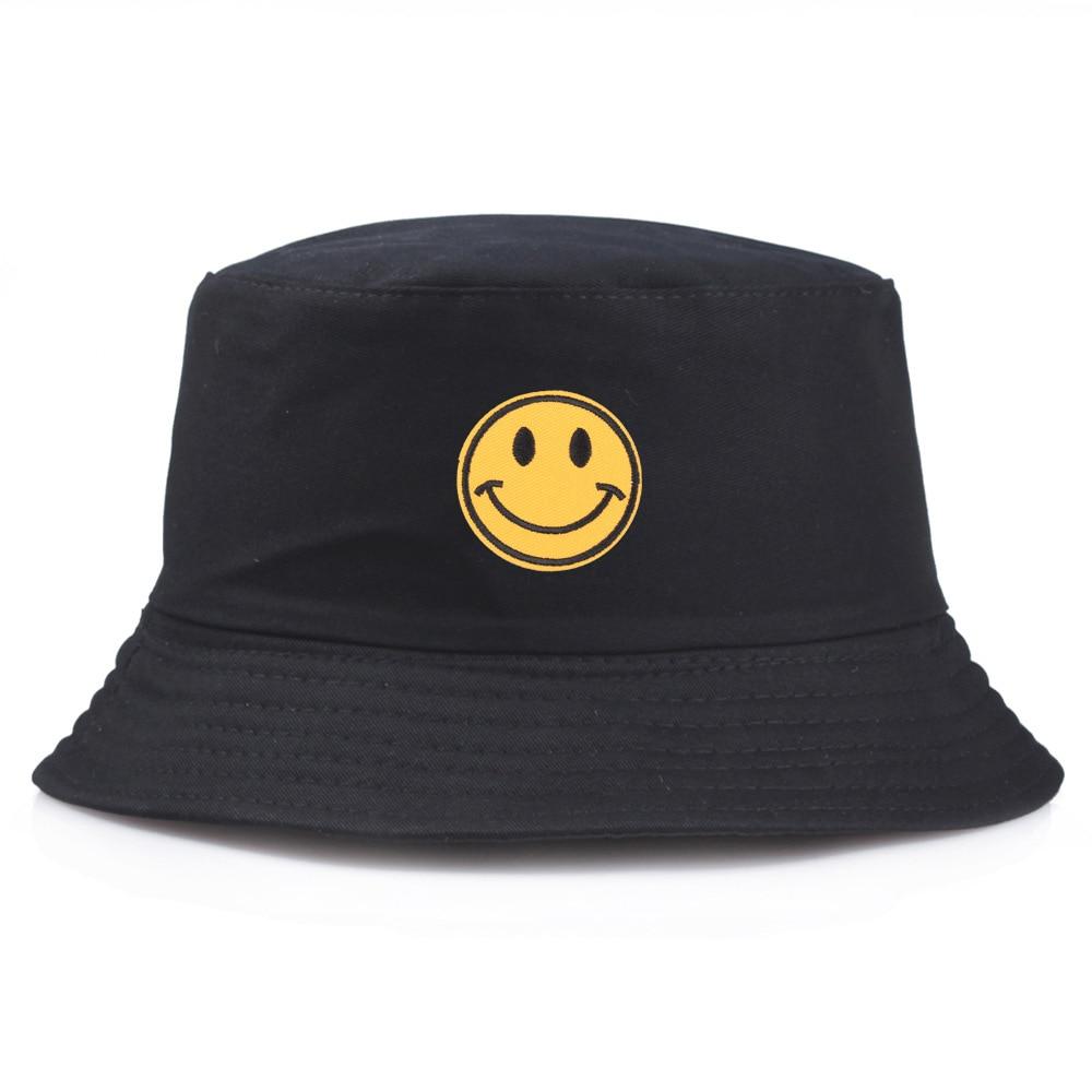 Yellow Smiley Bucket Hat Brand Summer Hat Women Men Panama Happy Face Flat Caps Sun Embroidery Visor Fishing Fisherman Bob Hat