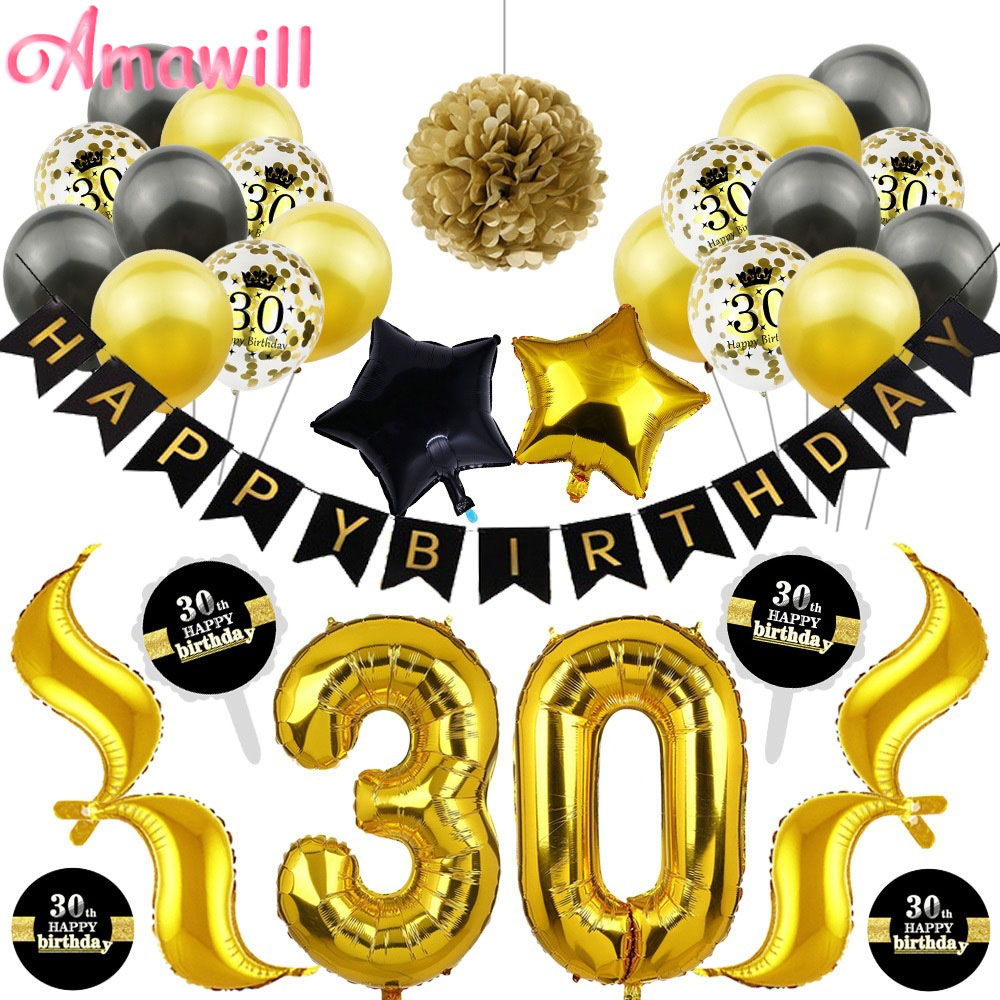 <font><b>30</b></font> Anniversary Balloons Happy Birthday <font><b>Party</b></font> <font><b>Decorations</b></font> Adult Black Gold Balloon Sticker 30th Years Birthday <font><b>Party</b></font> Favors 7D image