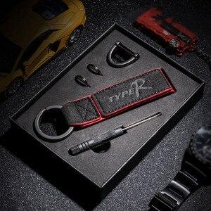 Брелок для автомобиля Alcantara, кожаный брелок с мехом и логотипом R, наклейка для Honda CIVIC FD2 FD FA 5 Mugen Type R Racing