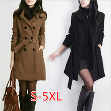 Autumn Winter Women's Slim Large Size Woolen Coat Long Coat Trench Velvet Cardig