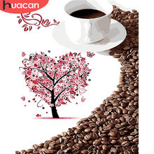 HUACAN Coloring By Number Coffee Landscape HandPainted Kits Drawing Canvas Oil Painting Tree Pictures Home Decoration(China)