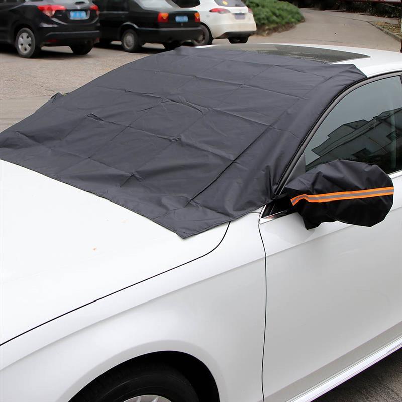 Otomobiller ve Motosikletler'ten Ön Cam Güneşlikleri'de Araç ön camı dikiz aynası kar örtüsü güneş örtüsü kaldırmak buz don kolayca kış ve yaz aylarında arabalar için title=