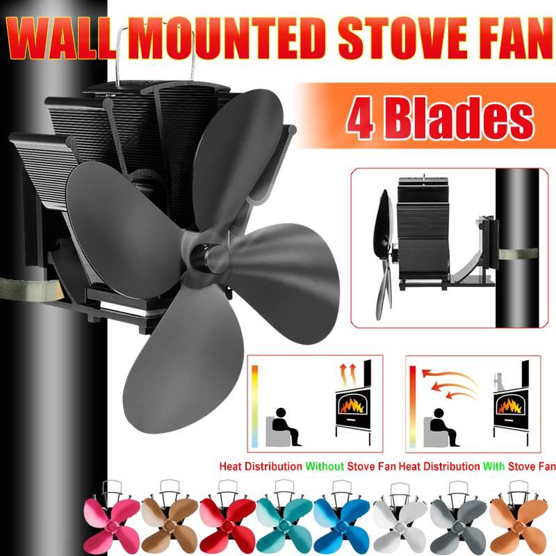 7 Inch 4 Blade Wall-mounted Heat Powered Stove Fan Log Wood Burner Ecofan Quiet Home Fireplace Fan Efficient Heat Distribution