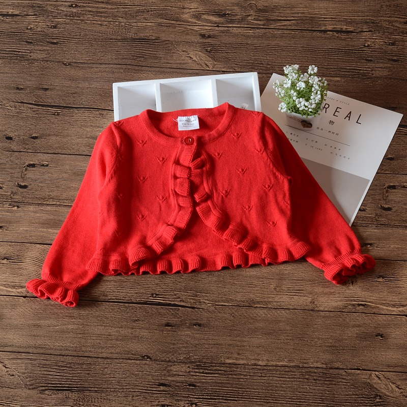 6Month-4 Yrs Red Girls Cardigan Sweater Single Button Jacket Cotton Outerwear Girls Coat 1 2 Years Old Baby Girl Clothes 185056