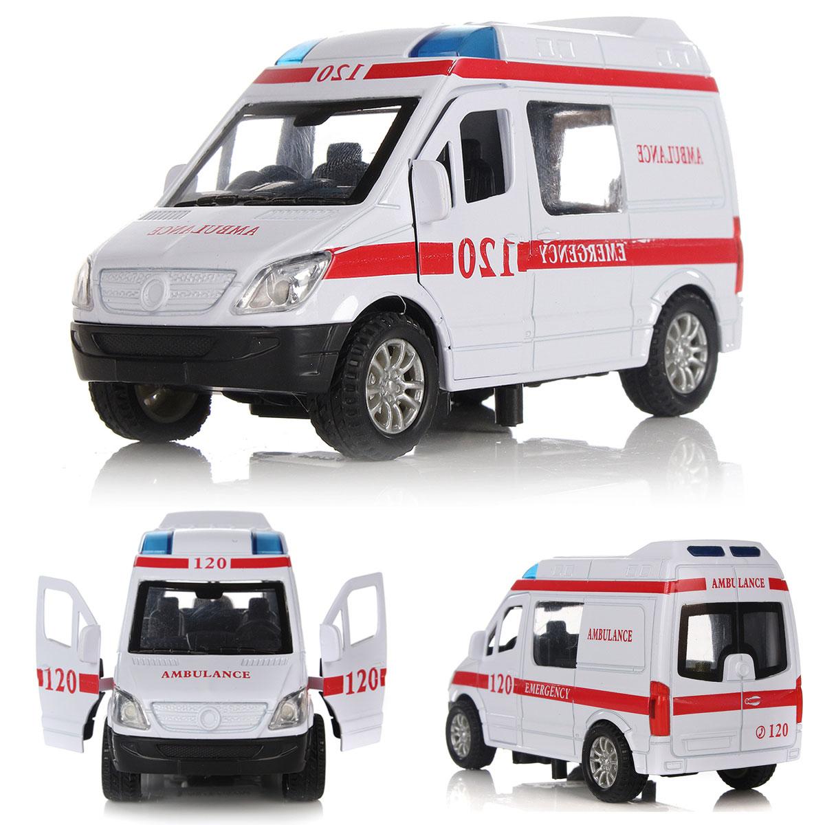 1:32 White Ambulance Vehicles ~l Car Model Toy Alloy Diecast w// Light Sound A!