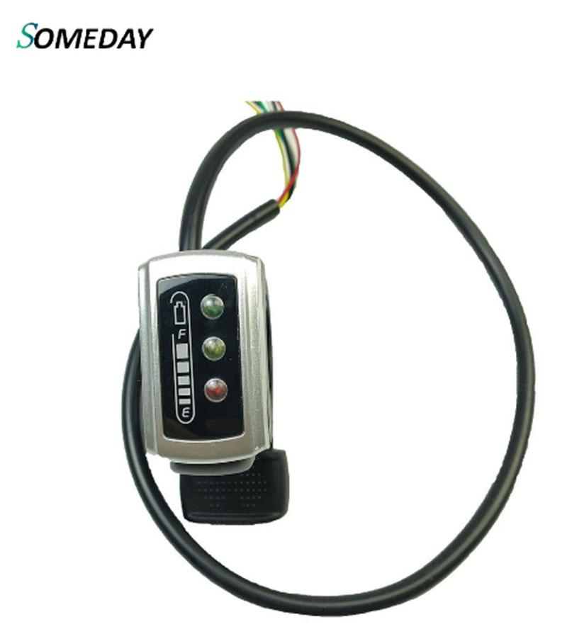 SOMEDAY Wuxing 36V / 48V 106DX Thumb Throttle With ON/OFF LED Power Display Switch Ebike Finger Throttles