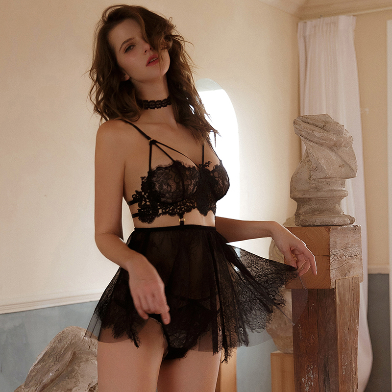 Sexy Mousse See Through Deep V Mesh Lace Sleep Wear Evening Nightgown With Thong Sexy Embroidery Short Hot Backless Girl S-XL