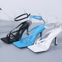 Square Open Toe Sandals Women Thin Heels Summer New Fashion Sexy Shoes Ankle Buckle Strap Narrow Band Women Gladiator Sandals