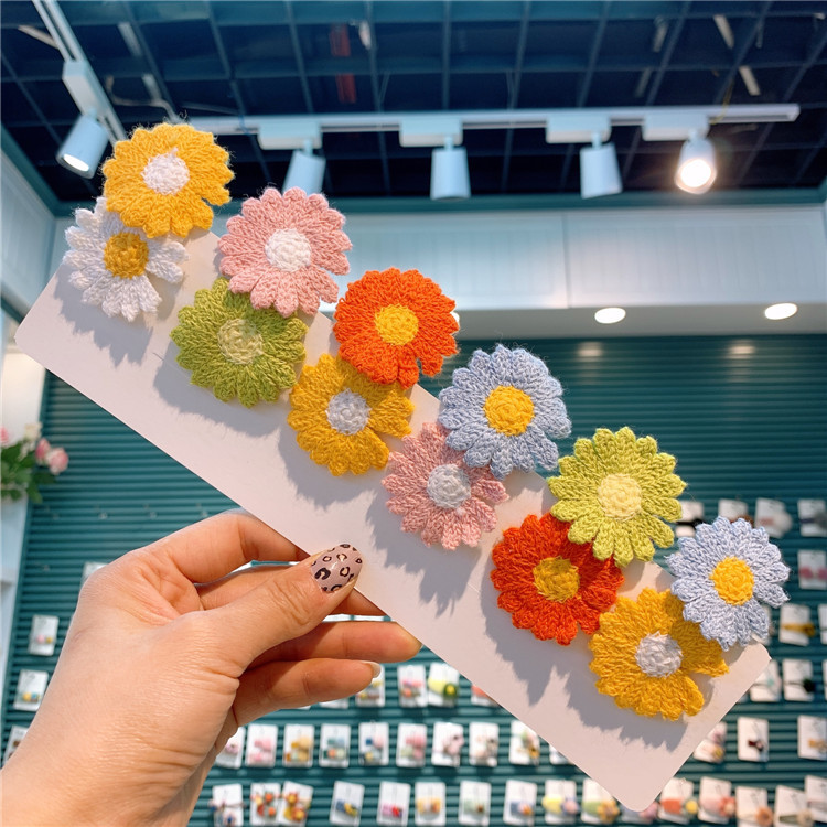 Spring New Childrens Color Matching Daisy Flower Hairpin Bb Clip Lovely Girl Korean Flower Hairpin Baby Hair Pins