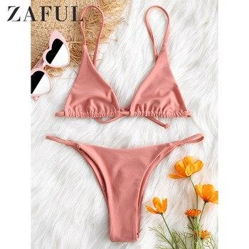 ZAFUL New Swimwear Women Cami Bralette Thong String Bikini Set Sexy Low Waisted Spaghetti Straps Women Swimsuit G String Biquni plain cami bikini set