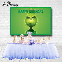 Inmemory grinch verde fotografia fundos feliz natal festa de aniversário pano de fundo para photo studio photocall personalizado