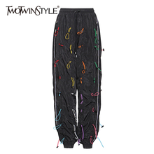 TWOTWINSTYLE Streetwear Loose Pants For Women High Waist Drawstring Plus Size Casual Trousers Female 2020 Fall Fashion New
