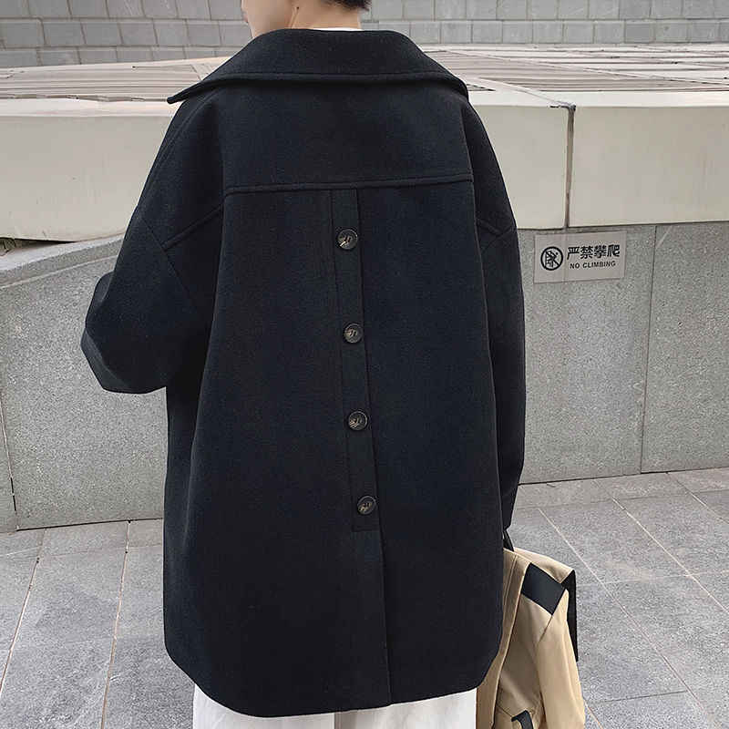 Зимнее шерстяное пальто, мужское модное однотонное повседневное длинное шерстяное пальто, мужское уличное свободное шерстяное пальто в Корейском стиле, Мужское пальто