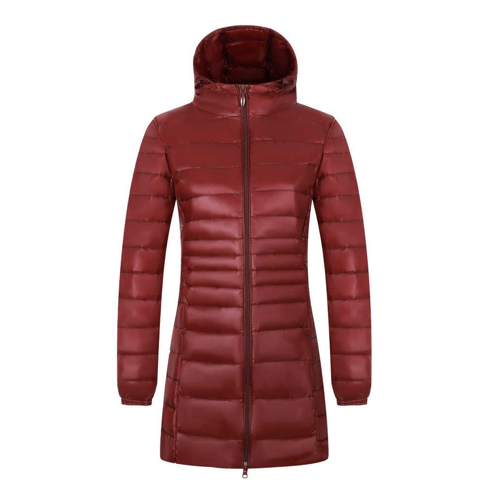 7XL 8XL длинный пуховик 2019New женский зимний ультра легкий пуховик женский пуховик с капюшоном большой размер куртка пуховик