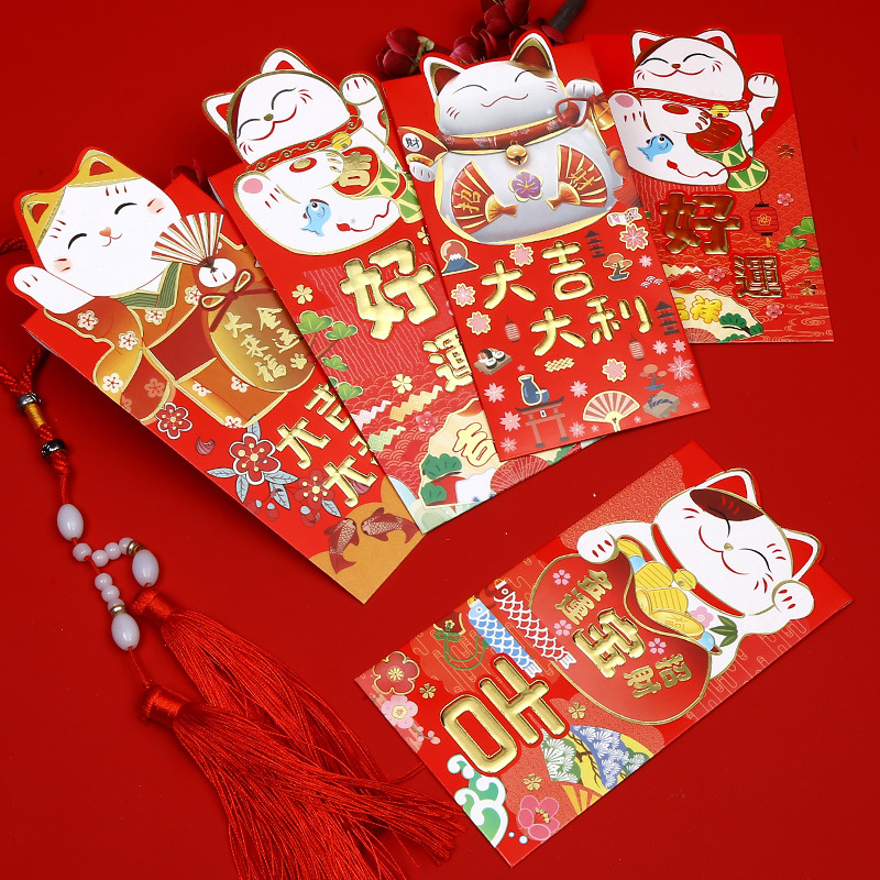 (8 Pieces/lot) New Year Red Envelopes Year Of The Mouse Cute Cartoon Lucky Money Pocket Bag Spring Festival Gift Envelopes