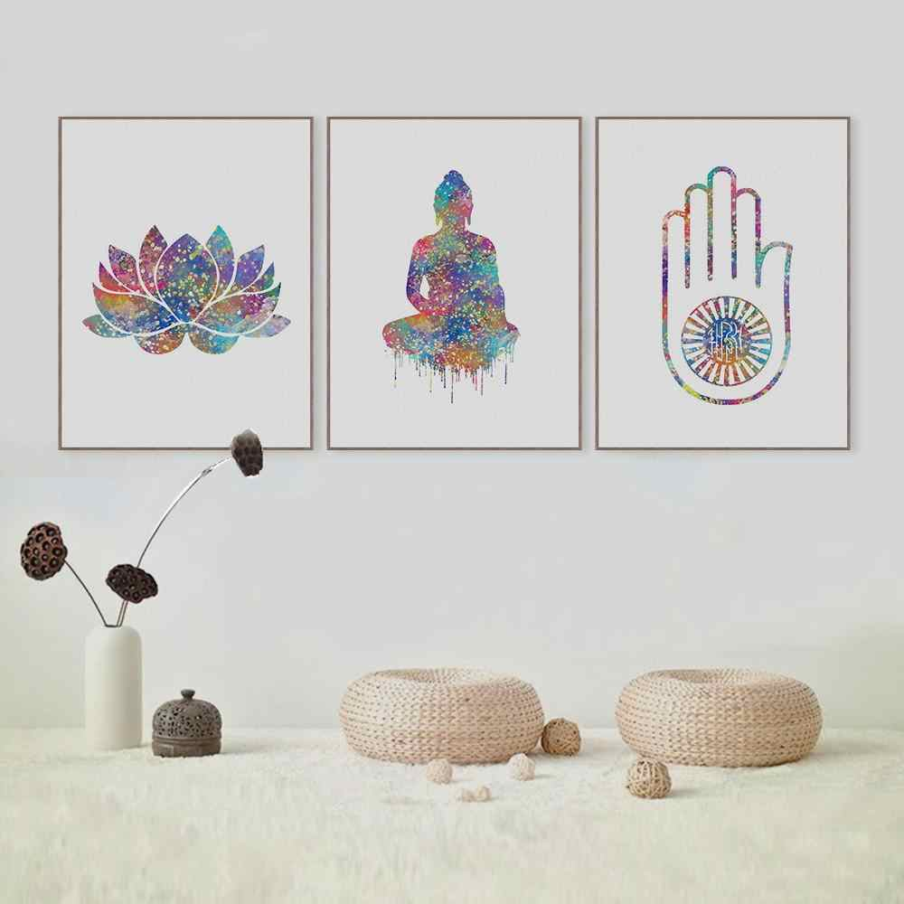 Watercolor Buddha Hand Lotus Pictures Spiritual Canvas Paintings Wall Art Pictures Poster and Print Living Room Home Decoration