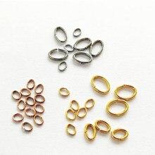 100 pçs/lote de aço inoxidável oval forma saltar anéis ouro rosa cor ouro anel oval conector para diy jóias fazendo descobertas artesanato