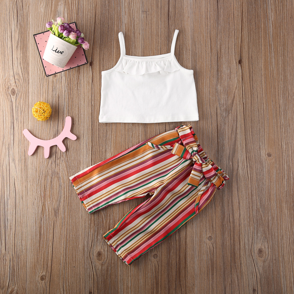 Pudcoco Toddler Baby Girl Clothes Solid Color Sleeveless Strap Crop Tops Striped Short Pants 2Pcs Outfits Clothes Summer Set