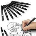 9 шт. иглы Графический набор ручек для рисования микрон тонкой Лайнер Маркер для эскизов Кисть художественная пигментные чернила на водной ...
