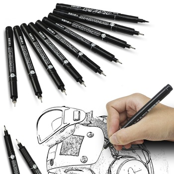 9pcs Needle Tip Graphic Drawing Pen set Micron Fine Liner Marker Sketching Brush Art Water-based Pigment Ink Waterproof A6150 9pcs set pigment liner micron ink marker pen for drawing sketch manga micron liner calligraphy brush hook line pens art supplies