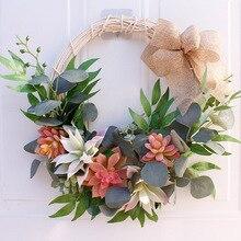 Artificial Flower Wreath for Home Garden Window Walls Front Door Hanging Flower Garland Hanging Succulent Wedding Decoration