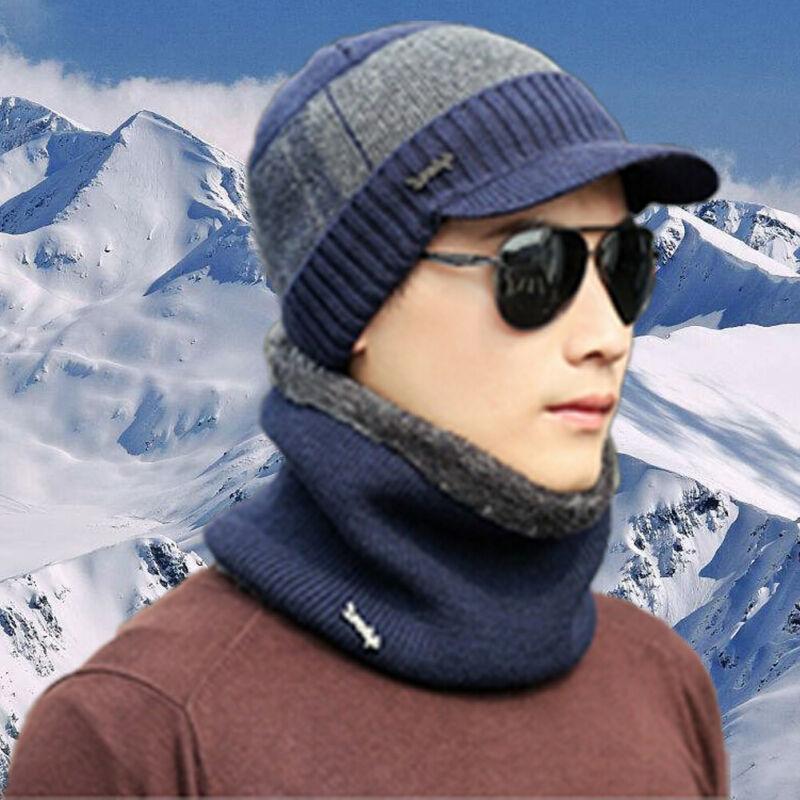 Men Women Winter Warm Crochet Knit Baggy Beanie Visor Wool Skull Hat Ski Cap Scarf Set 3FS