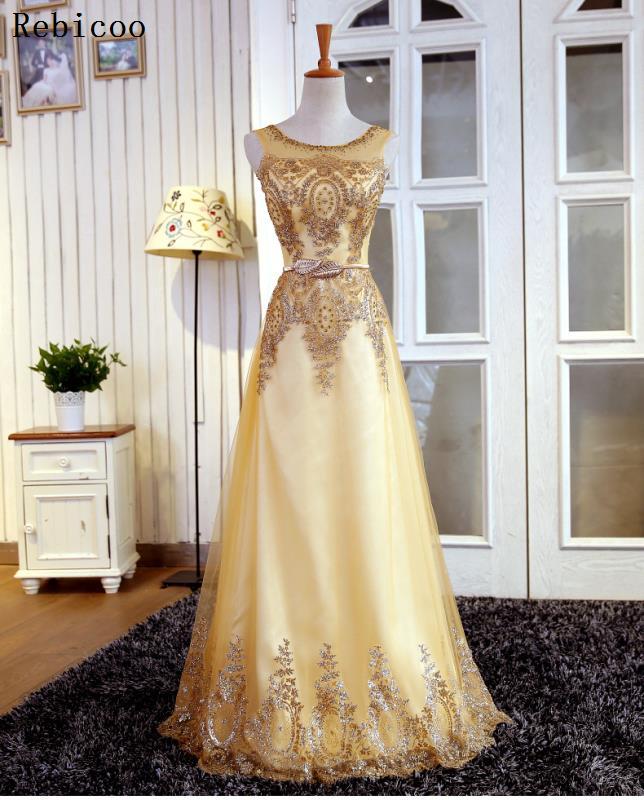 Robe en dentelle dorée nouveau style banquet, longue princesse robe de mariée à fleurs dorées, robe courte d'entreprise