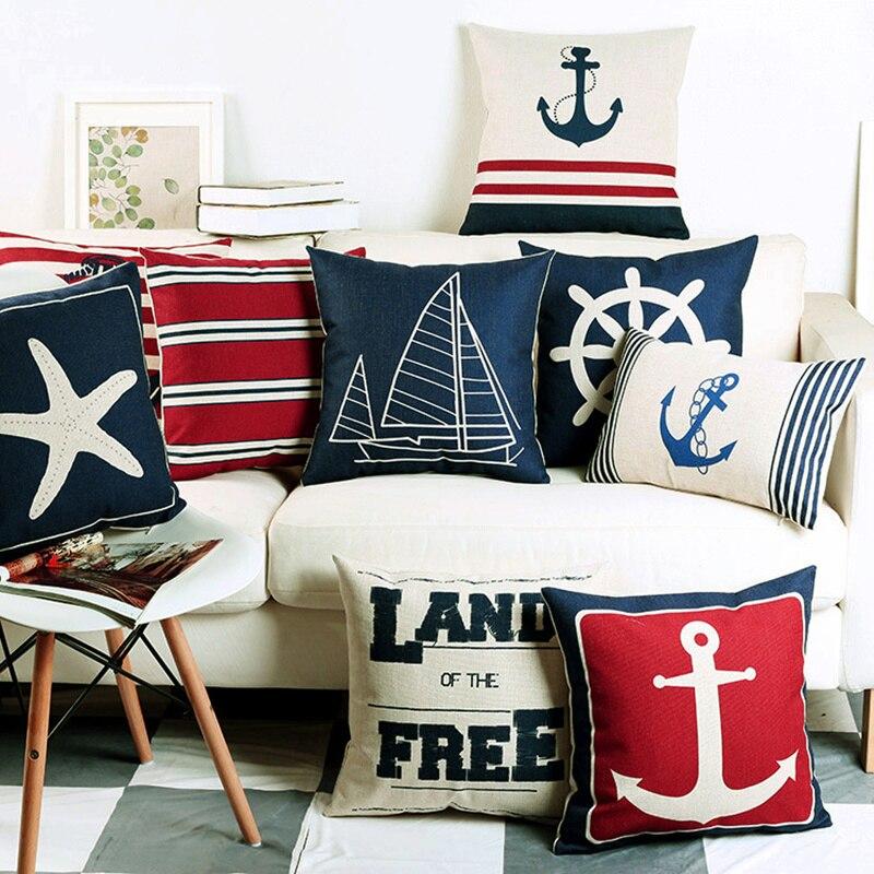 Mediterranean Blue Shell Starfish Pillow Cover Home Decorative Pillows Sea Compass Anchor Linen Pillow Case Cushion Cover
