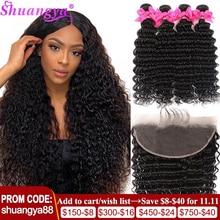 บราซิลการรวมกลุ่ม100% Virgin Human Hair 3/4รวมกับด้านหน้าShuangya Hair Frontalกับ