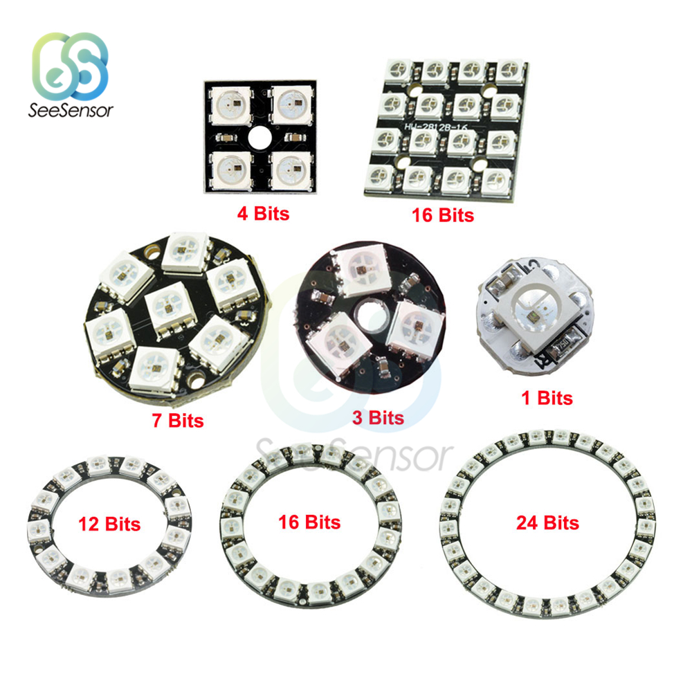 5PCS 7-Bit WS2812 5050 RGB LED Ring Round Decoration Bulb Arduino
