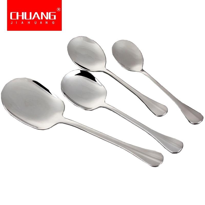 Stainless Steel Large Soup Spoon Kitchen Dinner Ramen Spoons Flatware O3