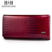 HH จระเข้สตรีกระเป๋าสตางค์สุภาพสตรีคลัทช์กระเป๋าเหรียญ Hasp Luxury สิทธิบัตรหนังจระเข้หญิงยาวกระเป๋าสตางค์